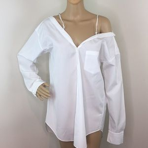 Theory White Off The Shoulder Blouse